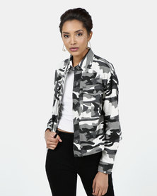 New Look Camo Cropped Shacket Black