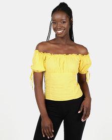 New Look Linen Blend Tie Sleeve Bardot Top Yellow
