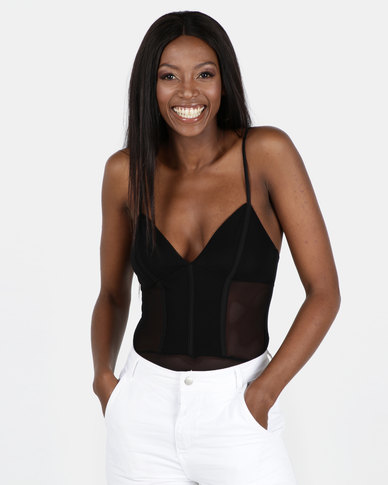 New Look Mesh Strappy Bodysuit Black