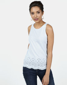 New Look Broderie Hem Top Light Blue