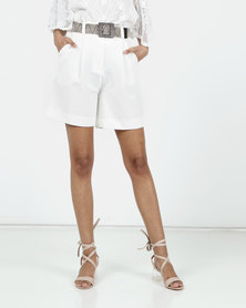 New Look Belted City Shorts White