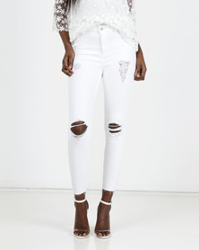 New Look White Ripped Raw Hem Skinny Jeans