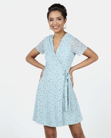 New Look Floral Mesh Mini Wrap Dress Blue