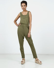 New Look Button Front Jersey Jumpsuit Khaki