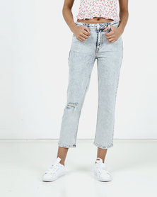 New Look Acid Wash Straight Leg Harlow Jeans Blue