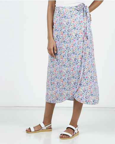 New Look Floral Midi Skirt Purple