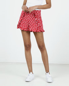 New Look Ditsy Floral Frill Shorts Red