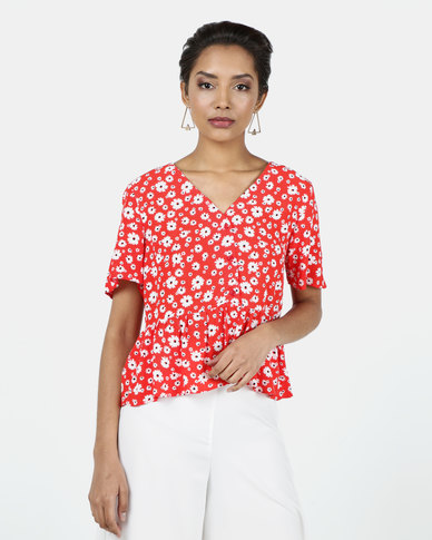 New Look Floral V Neck Button Up Shirt Red