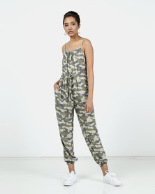 New Look Camo Strappy Jumpsuit Green