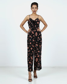 New Look Floral Print Chiffon Jumpsuit Black