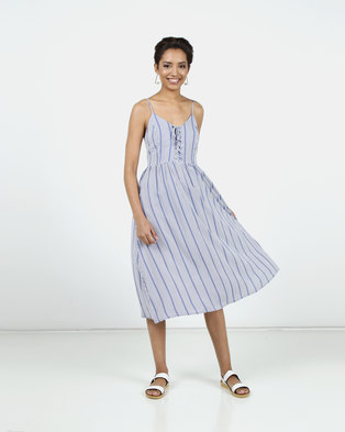 New Look Stripe Lace Up Front Midi Dress Blue