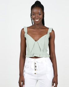 New Look Frill Tie Front Cami Mint Green