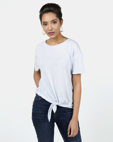 New Look Organic Cotton Tie Front T-Shirt Pale Blue