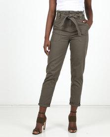 New Look Paperbag Tapered Denim Trousers Khaki