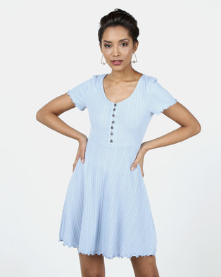 New Look Ribbed Button Up Skater Dress Pale Blue