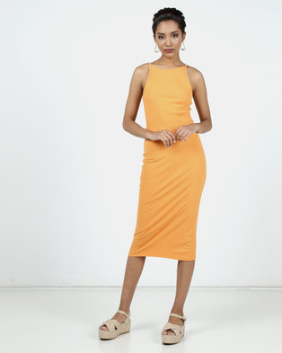 New Look Ribbed Strappy Bodycon Midi Dress Orange
