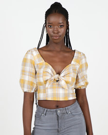New Look Check Linen Look Milkmaid Top Mustard