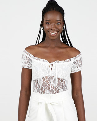 New Look Lace Trim Milkmaid Bodysuit White