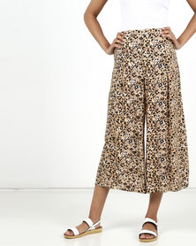 New Look Animal Print Cropped Trousers Brown