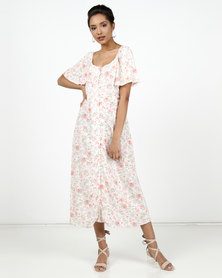 New Look Floral Button Up Midi Milkmaid Dress White