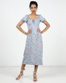 New Look Floral Off Shoulder Midi Milkmaid Dress Blue