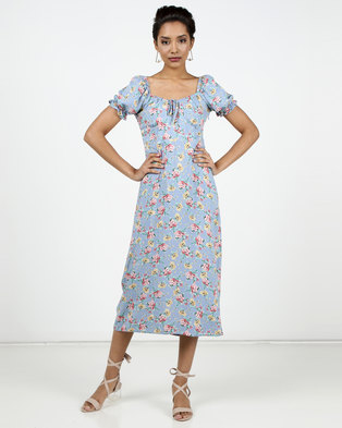 New Look Floral Off Shoulder Midi Milkmaid Dress Blue