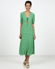New Look Ditsy Floral Lace Up Midi Dress Green