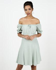 New Look Milkmaid Tea Dress Light Green