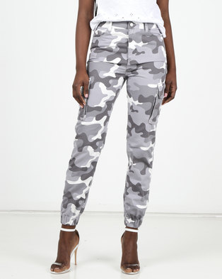 New Look Camo Utility Trousers Light Grey