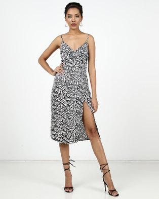 New Look Leopard Print Satin Midi Dress White