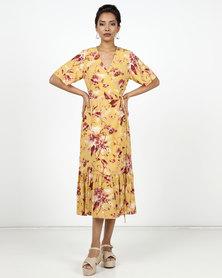 New Look Floral Tiered Hem Midi Dress Yellow