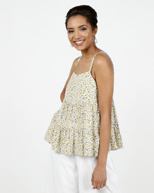 New Look White Ditsy Floral Tiered Hem Cami
