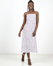 New Look Printed Snake Slip Dress Grey