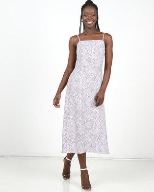 New Look Printed Snake Slip Dress Grey