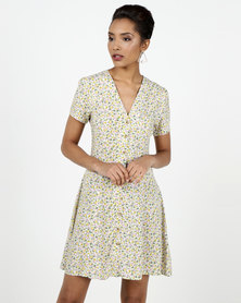 New Look Floral Print Tea Dress White
