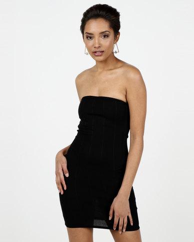 2376c52474 New Look Ribbed Bandeau Midi Dress Black