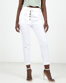 New Look Linen Blend Paperbag Trousers White