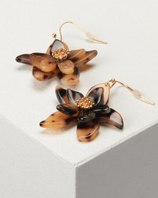 New Look Resin Flower Earrings Brown
