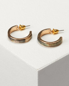 New Look Shell Mini Hoop Earrings Gold