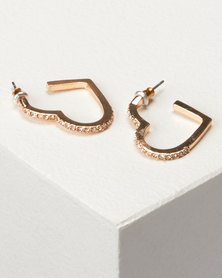 New Look Diamante Heart Hoop Earrings Gold
