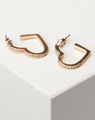 New Look Diamante Heart Hoop Earrings Gold