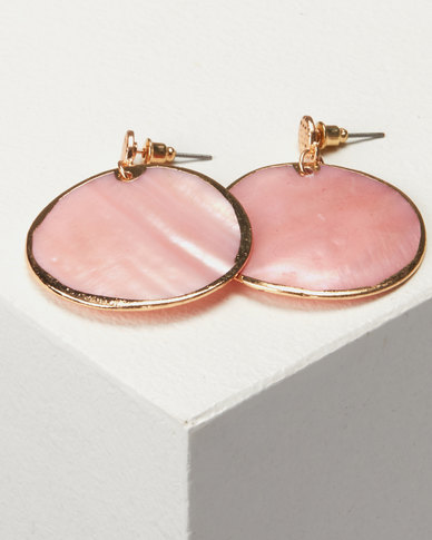 New Look Pastel Shell Disc Earrings Mid Pink