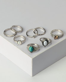 New Look 8 Pack Mixed Stone Stacking Rings Turquoise