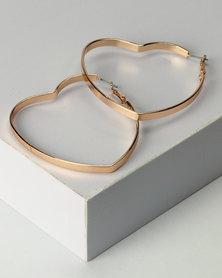 New Look Heart Hoop Earrings Gold