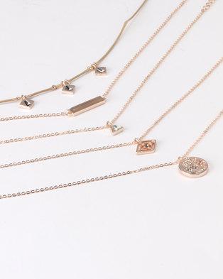 New Look 5 Pack Geometric Pendant Chokers Rose Gold