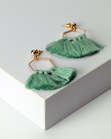 New Look Tassel Trim Hexagon Shell Earrings Green
