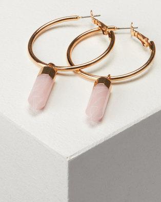 New Look Stone Shard Hoop Earrings Mid Pink