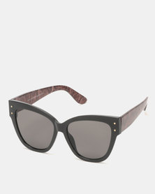 New Look Snake Print Oversized Cat Eye Sunglasses Black