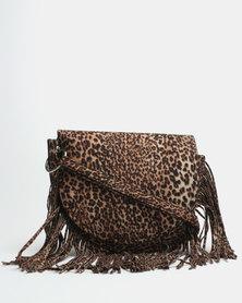 New Look Leopard Print Fringe Cross Body Bag Brown