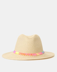 New Look Pom Pom Trim Woven Straw Effect Fedora Multicoloured